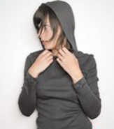 AMERICAN APPAREL LONG SLEEVE HOODED SHIRT