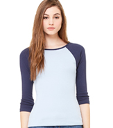 BELLA 3/4 RAGLAN SLEEVE LADIES 1X1 RIB KNIT