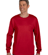 HANES TAGLESS LONG SLEEVE WITH POCKET