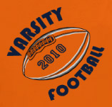 VARISTY FOOTBALL ORANGE AND BLUE t-shirt design idea